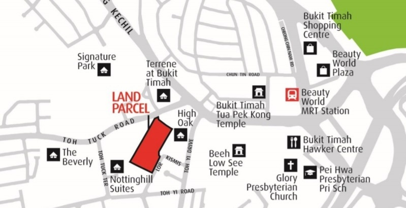 Location map of the Toh Tuck Road site