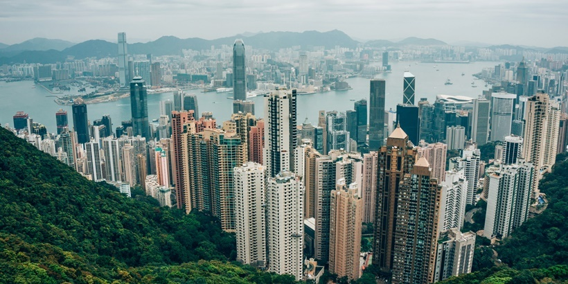 Hong Kong, China, Kowloon, Hong Kong Island from Victoria Peak
