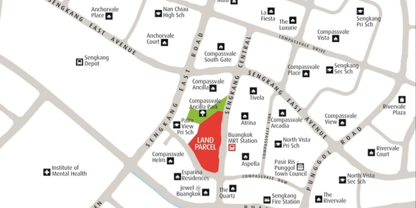 Location map of Sengkang Central site crop