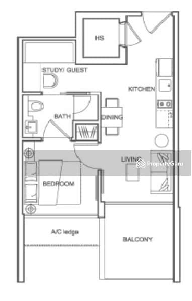 Centra Loft 3 Lorong 35 Geylang 1 Bedroom 474 Sqft