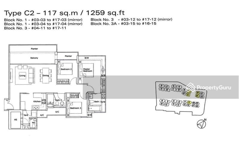 kovan residences 3 kovan road 3 bedrooms 1259 sqft
