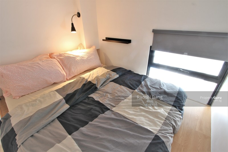 Queen size loft bed with window and study lamp