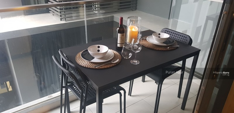 Balcony is sheltered and makes a great dining room