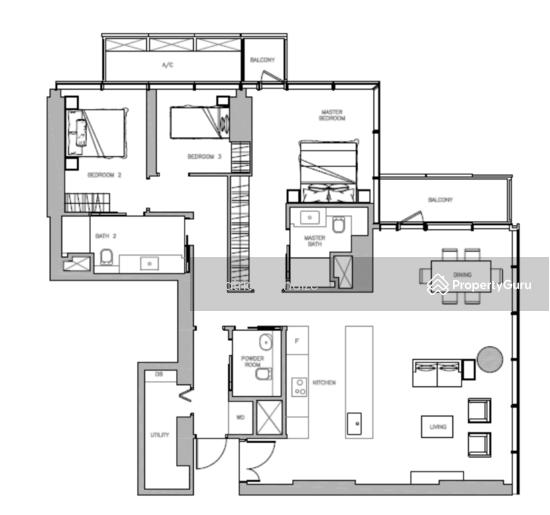 1722 Albert Street Apartments: Wallich Residence, 3 Wallich Street, 3 Bedrooms, 1722 Sqft