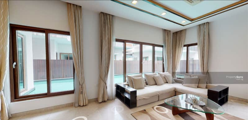 Living Room + Swimming Pool View