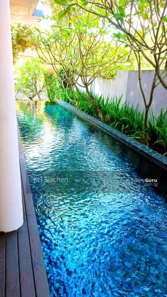 20m lap pool on the side of the house with private patio deck