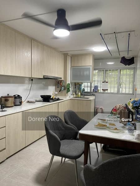 spacious kitchen with big dining table